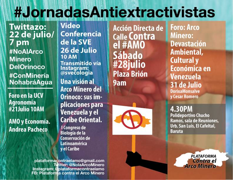 Calendario de las Jornadas Anti-Extractivistas (Julio-2018)