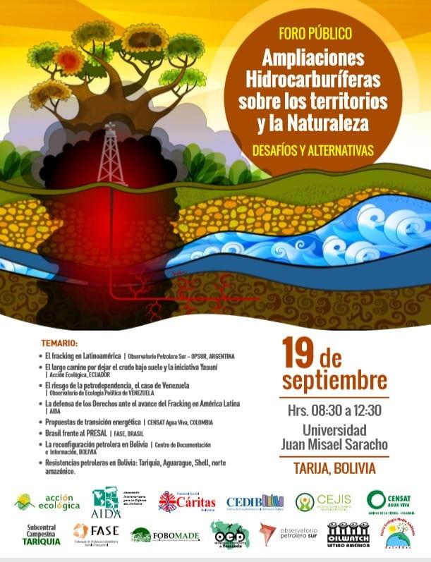 """OEP participará en el evento """"Ampliaciones hidrocarburíferas sobre los territorios y la naturaleza: desafíos y alternativas"""", en Tarija (Bolivia)"""
