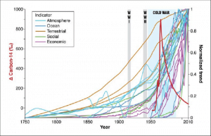 Figura 1. El gráfico de Steffen et al. (2015) muestra el violento salto desde mediados del siglo XX de los indicadores vinculados a variables como el incremento del cambio de uso de la tierra, del número de personas usando combustibles fósiles, entre otras.
