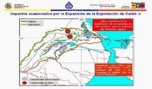 Imagen No.1. Ubicación de las actuales y futuras minas de carbón en el noroccidente de Zulia. Fuente: http://venezuelaoriginaria.blogspot.com.es/2015/04/mara-y-guajira-zona-de-sacrificio-minera.html
